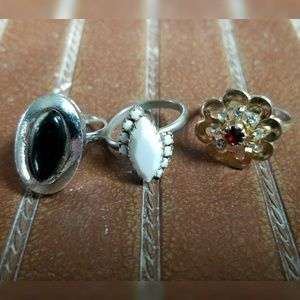 3 vintage rings unknown metals gold silver onyx